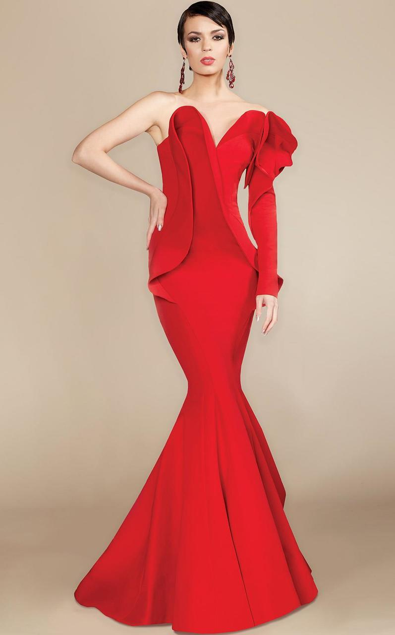 MNM Couture - 2327 Ruffled Sweetheart Mermaid Dress in Red