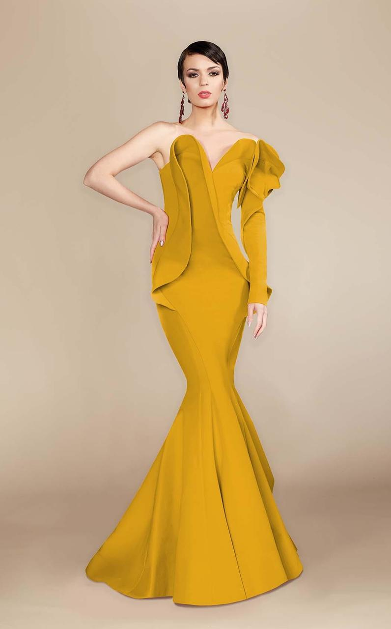 MNM Couture - 2327 Ruffled Sweetheart Mermaid Dress in Yellow