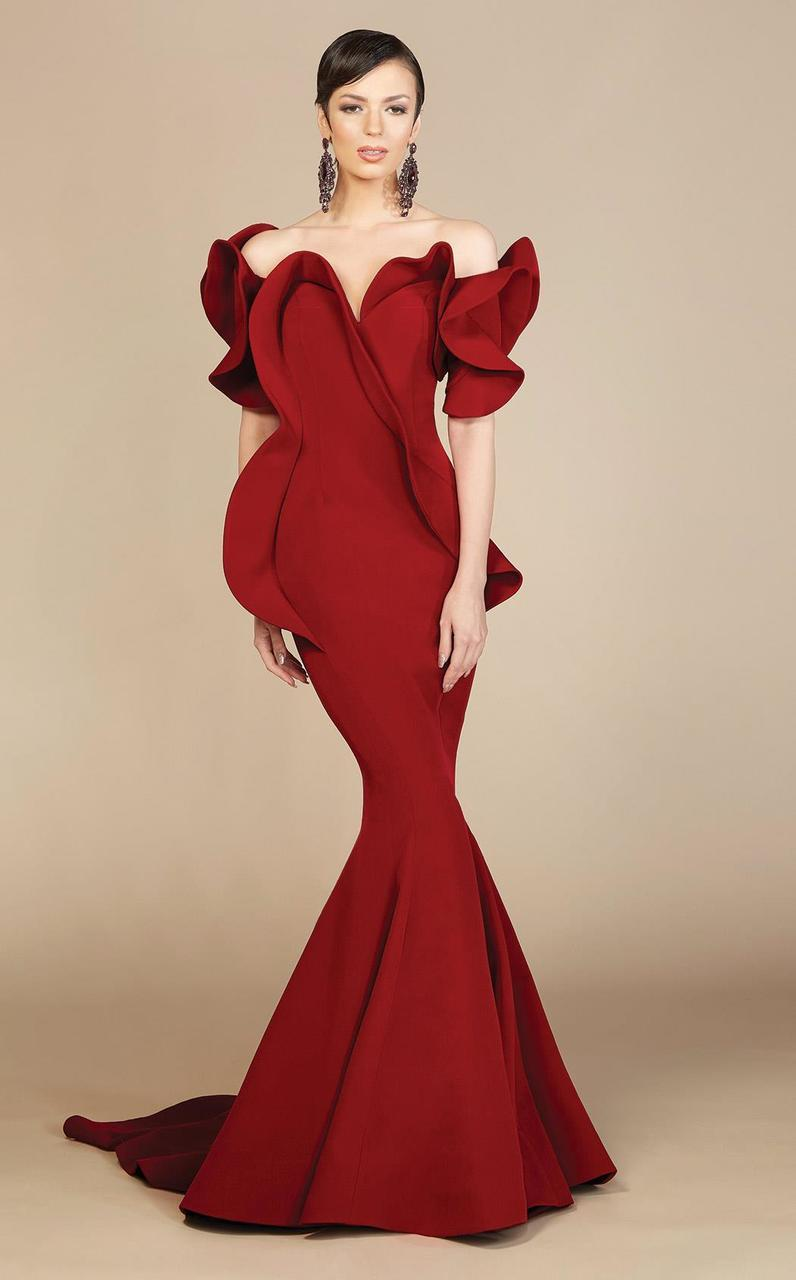 MNM Couture - 2328 Peplum Off-Shoulder Mermaid Evening Gown in Red