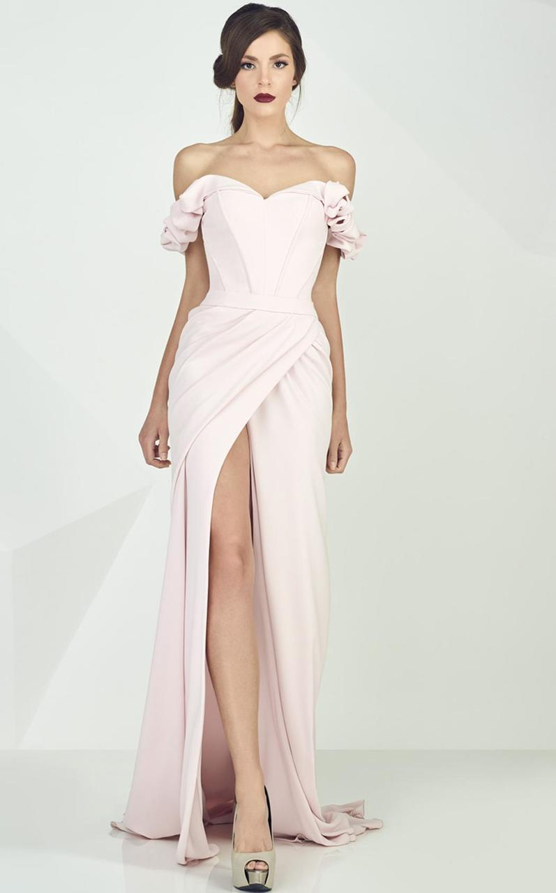MNM Couture - Ruffled Off-Shoulder Sleeve Sheath Dress G0665 in Pink