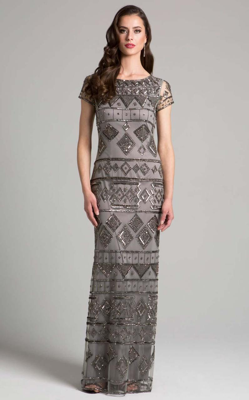 Lara Dresses - 33037 Geometric Short Sleeves Sheath Long Dress In Gray