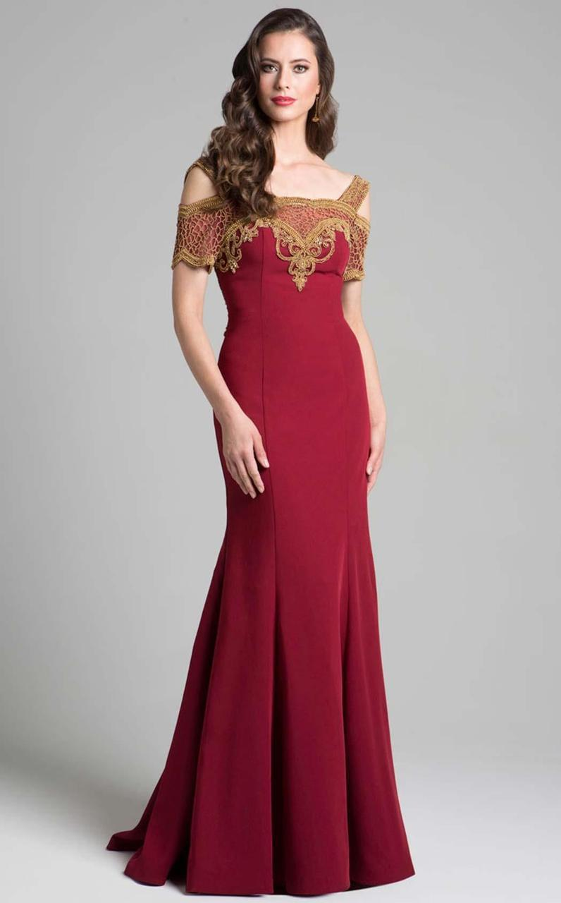 Lara Dresses - 33199 Wide Shoulder Straps Mermaid Gown In Red