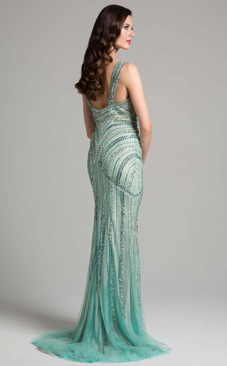 Lara Dresses - 33201 Sparkling Beaded Sheath Long Gown In Green