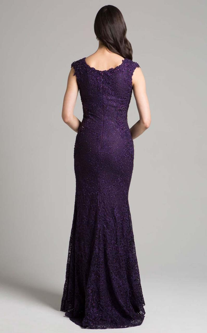 Lara Dresses - 33286 Beaded Lace V-neck Dress In Purple