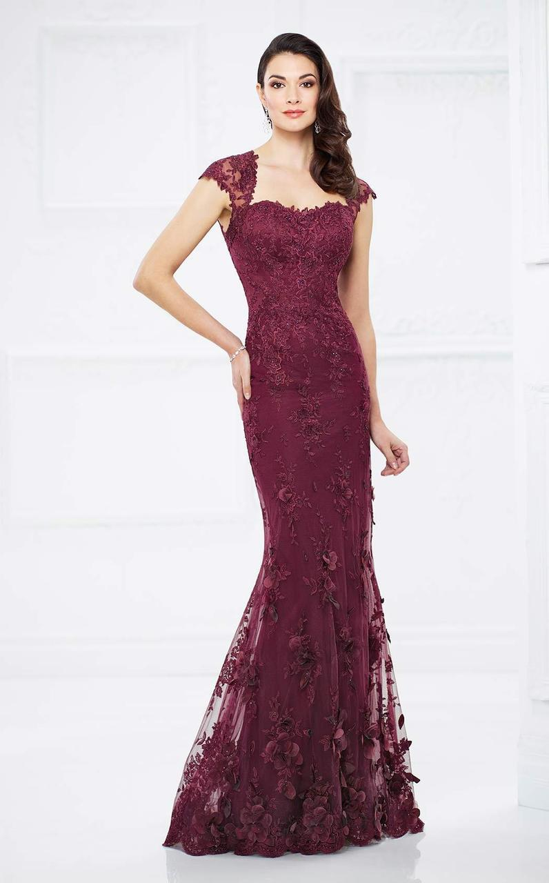 Montage by Mon Cheri - 217934 Lace Queen Anne Dress in Red