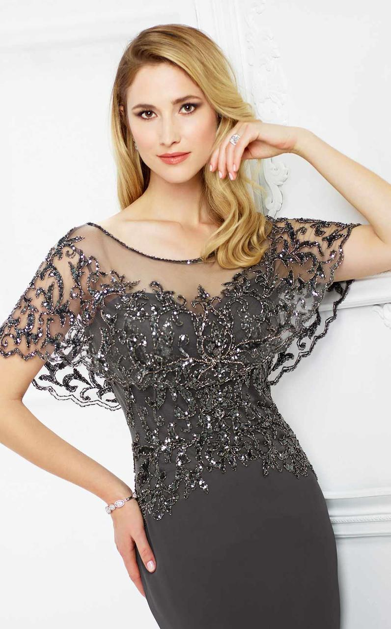 Montage by Mon Cheri - 217947 Sheer Embellished Capelet Bateau Gown in Gray