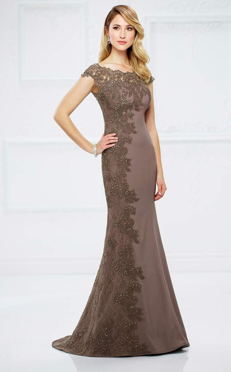 Montage by Mon Cheri - 217948 Bateau Beaded Lace Illusion Evening Gown in Brown