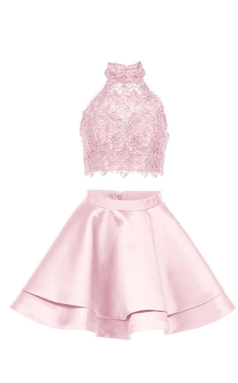 Alyce Paris - 3735 Two Piece Halter Lace Cocktail Dress in Pink