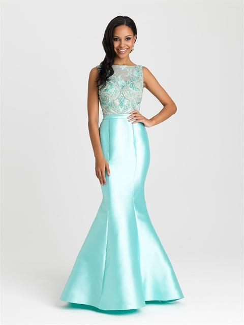 Madison James - Floral Embroidery Satin Mermaid Prom Dress 16-410SC