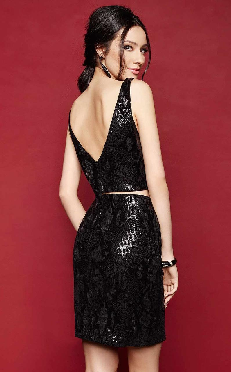 Clarisse - 3317 Two-Piece Plunge Sequined Cocktail Dress in Black