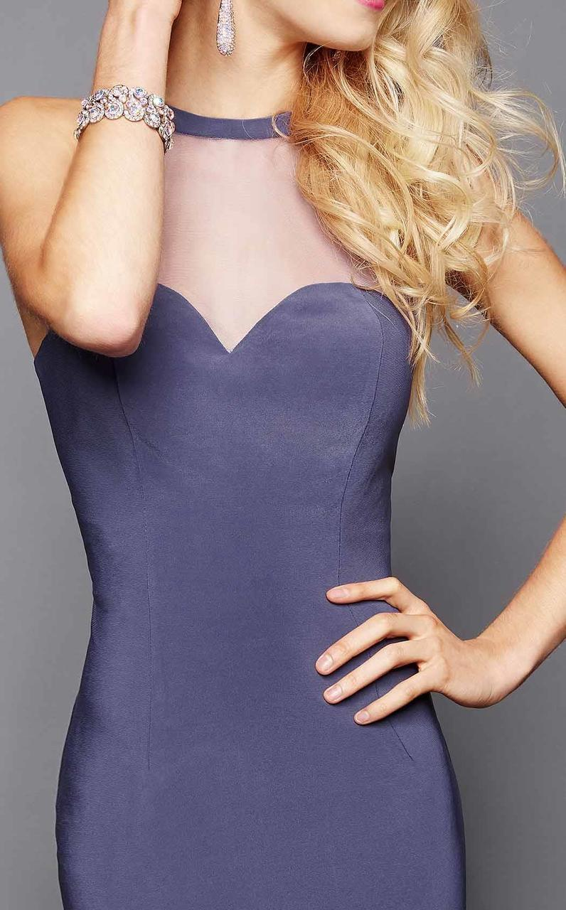 Clarisse - 3330 Illusion Halter Sheath Dress in Gray