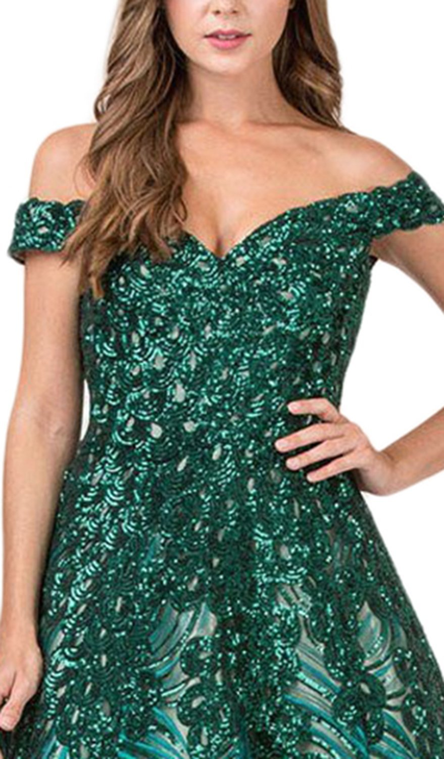 Eureka Fashion - Fully Sequined Off-Shoulder Ballgown 8007 In Green
