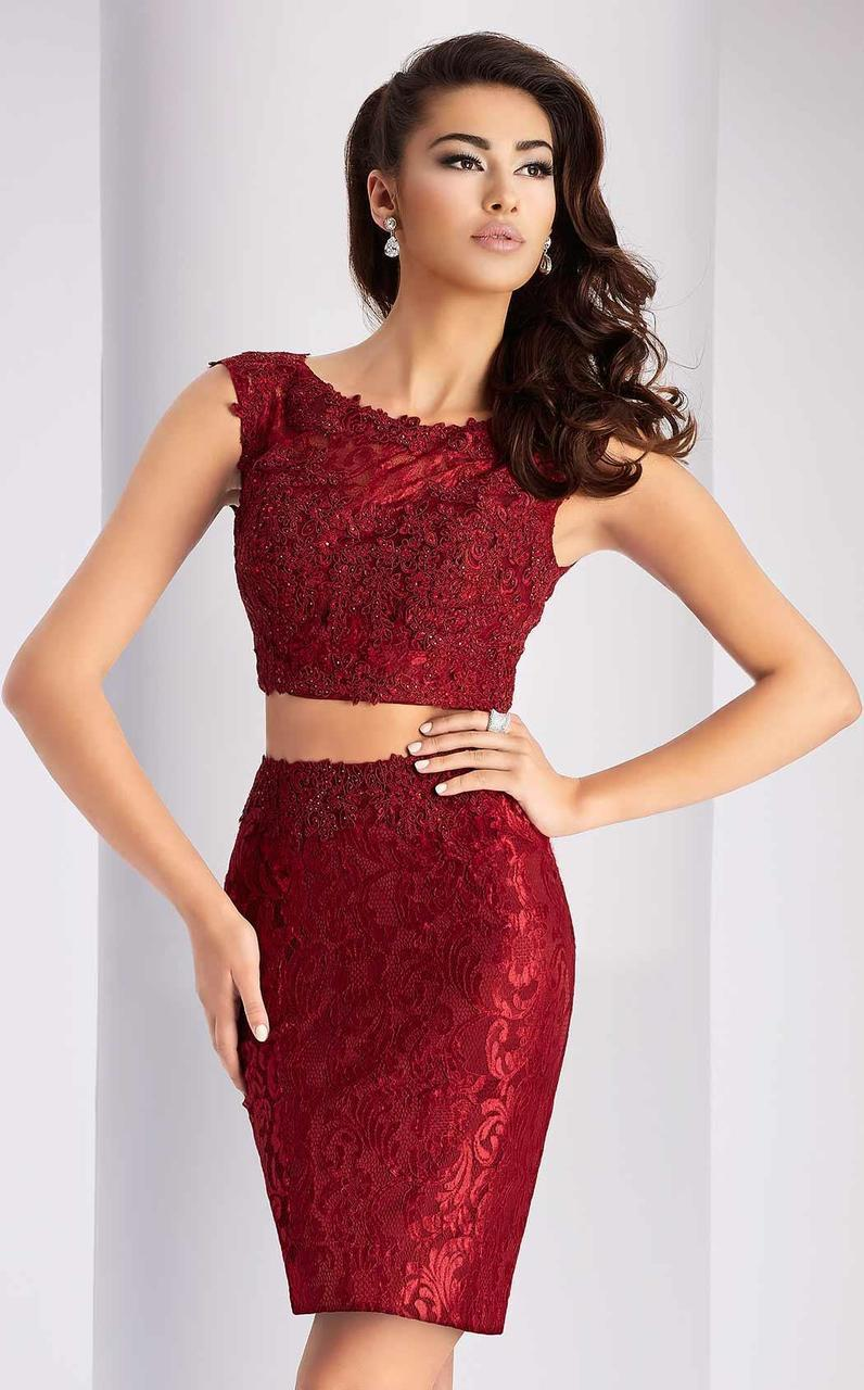 Clarisse - s2716 Two Piece Lace Dress in Red