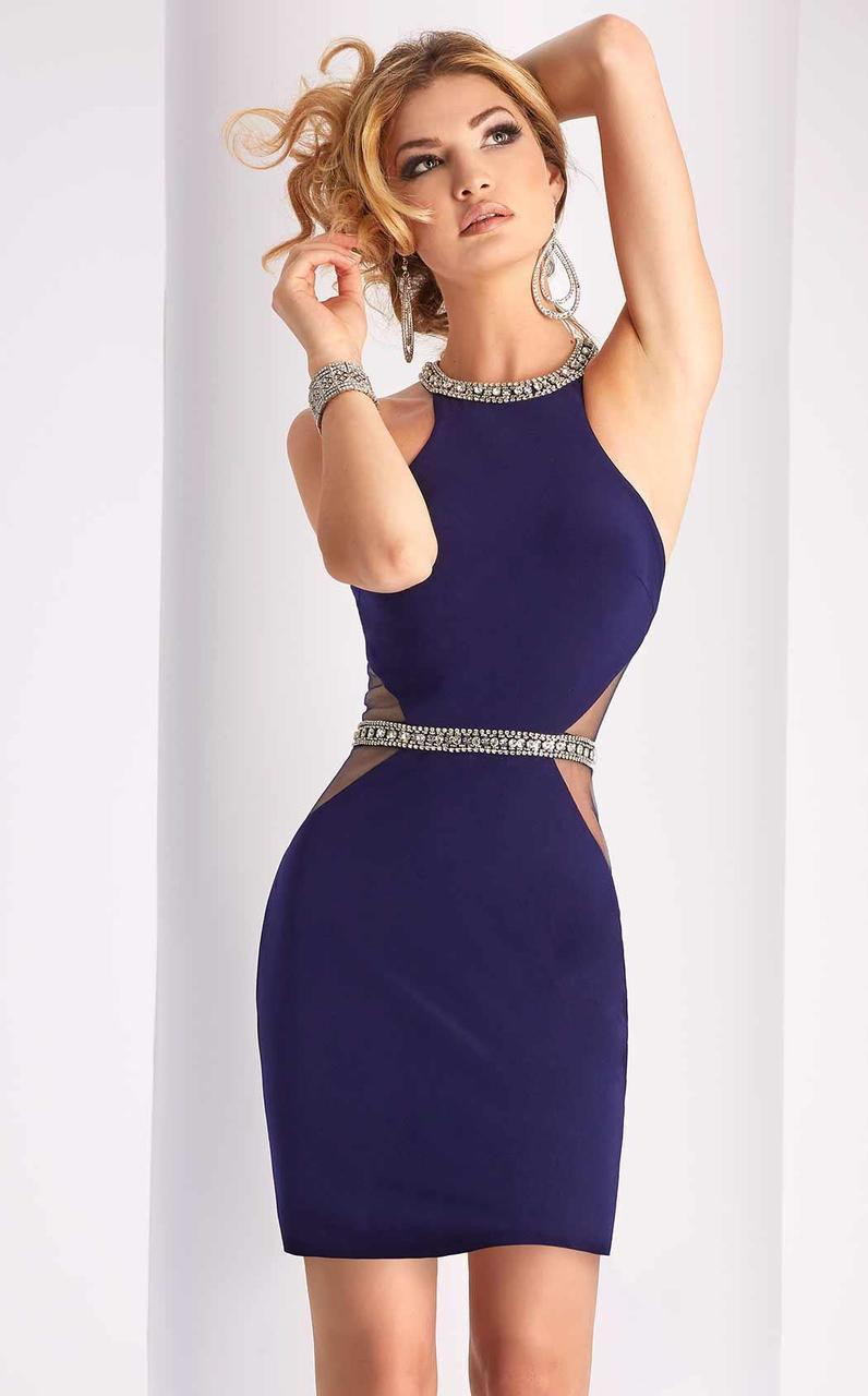 Clarisse - S3046 Jewel Adorned Body Conscious Cocktail Dress In Blue