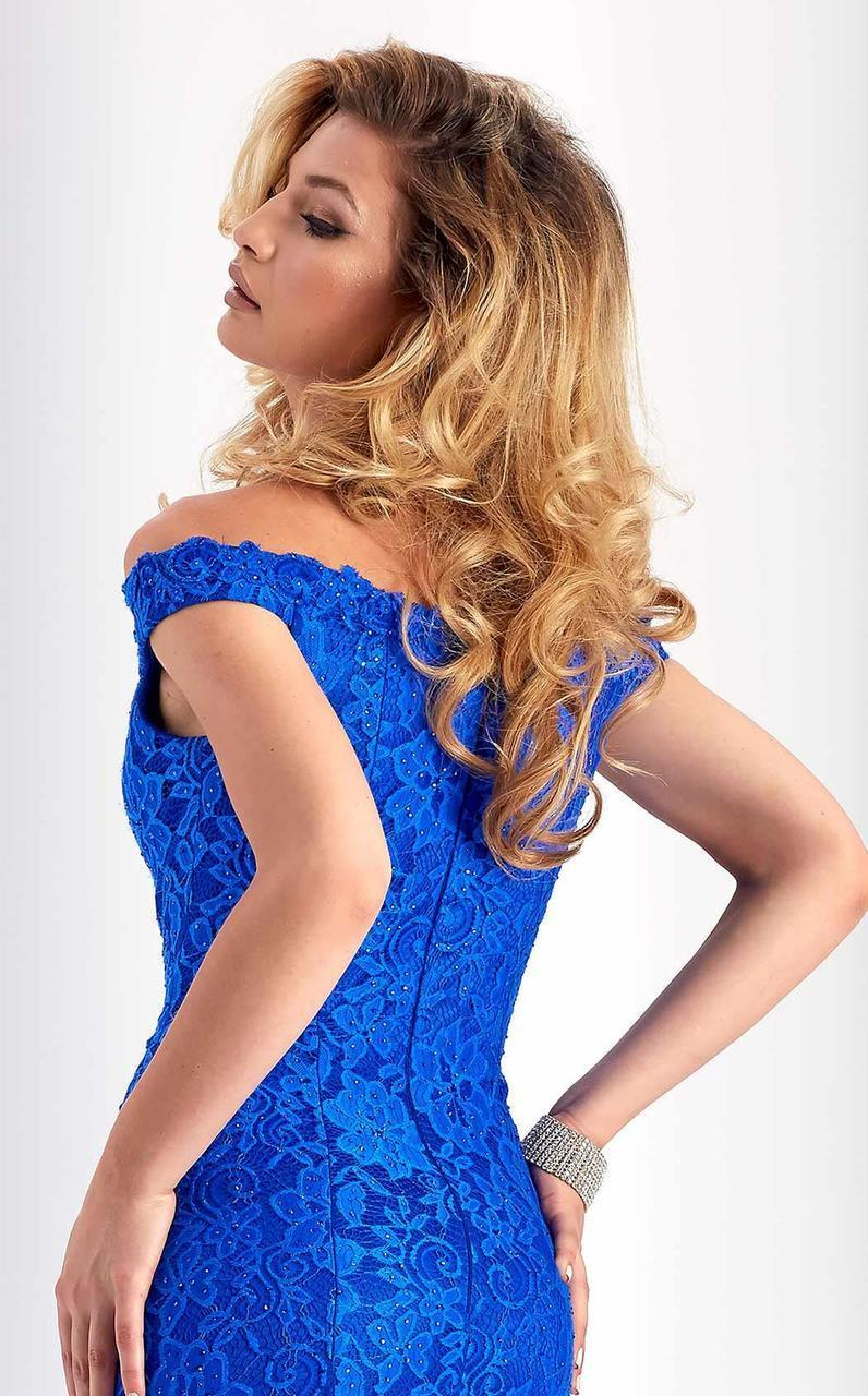 Clarisse - s4801 Lace Plunging Off-Shoulder Dress in Blue