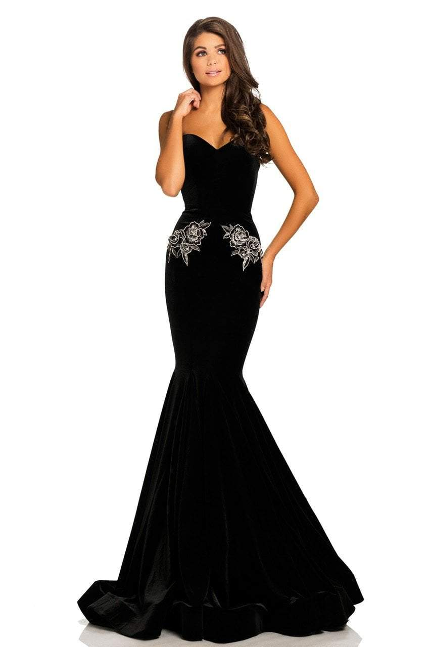 Johnathan Kayne - 8026 Embroidered Sweetheart Mermaid Dress in Black