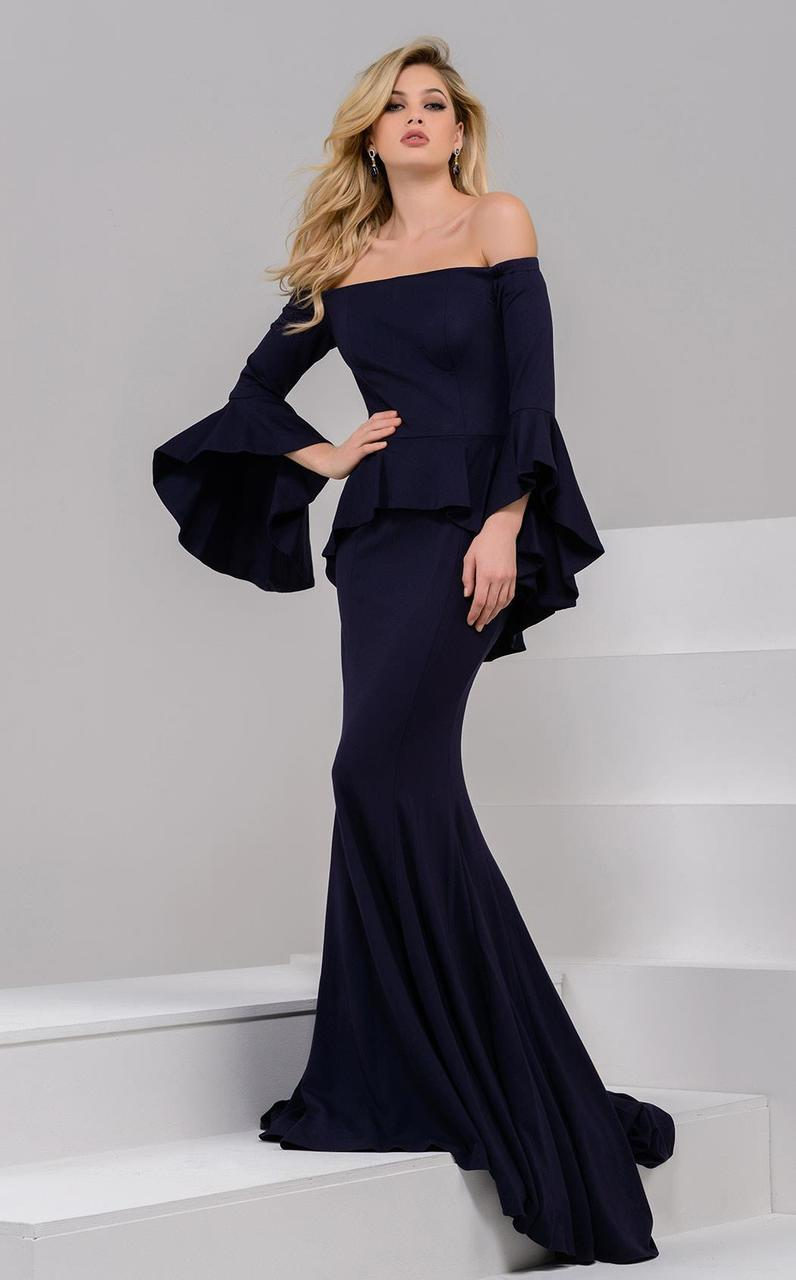 Jovani - 47122 Off Shoulder Mermaid Dress in Blue