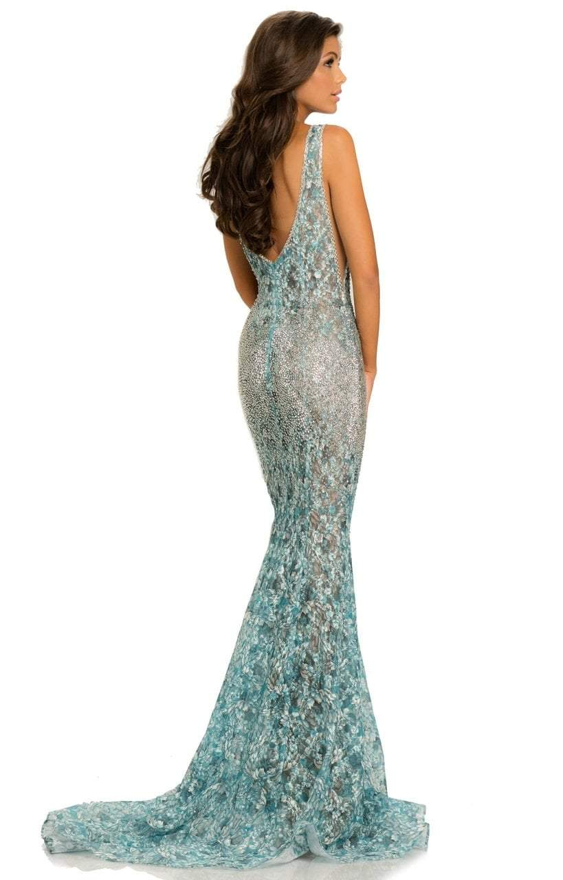 Johnathan Kayne - 8031 Deep V-Neck Ornate Lace Mermaid Gown In Blue