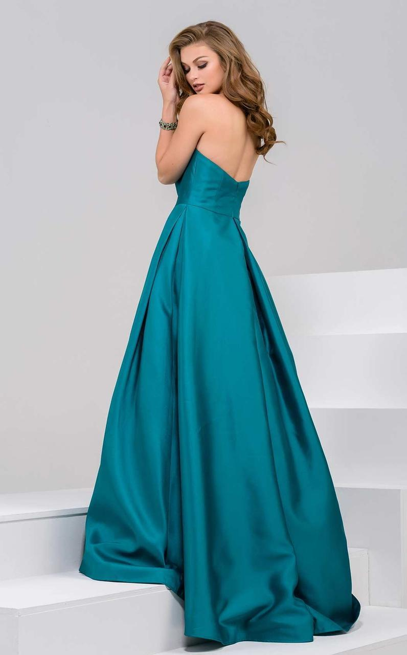 Jovani - 47162 Pleated Straight Neck Ballgown in Green