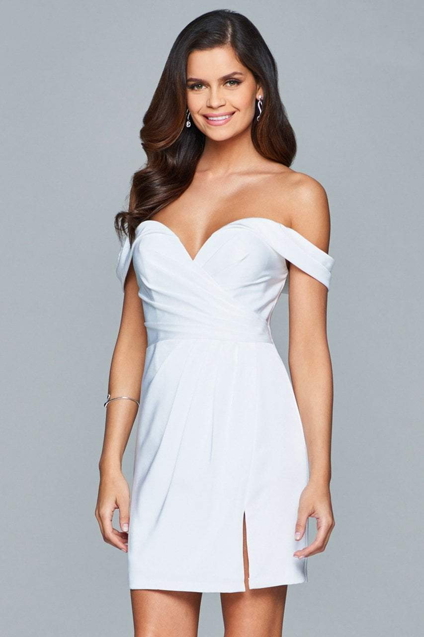 Faviana - 8050-1 Draped Sleeve Off Shoulder Satin Dress in White