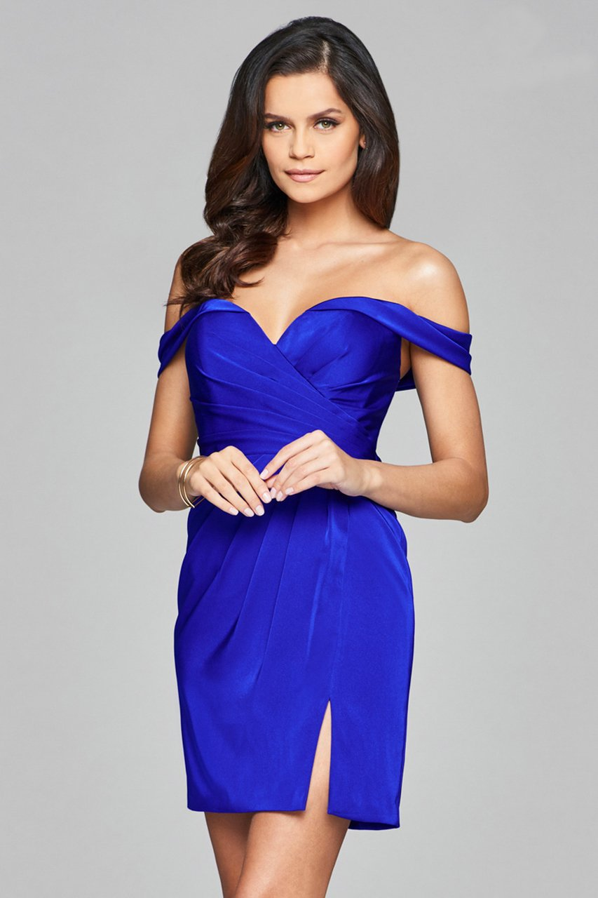 Faviana - 8050-1 Draped Sleeve Off Shoulder Satin Dress in Blue