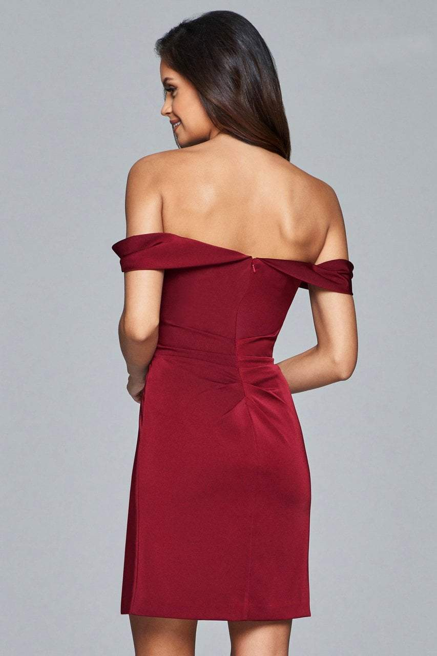 Faviana - 8050-1 Draped Sleeve Off Shoulder Satin Dress in Red
