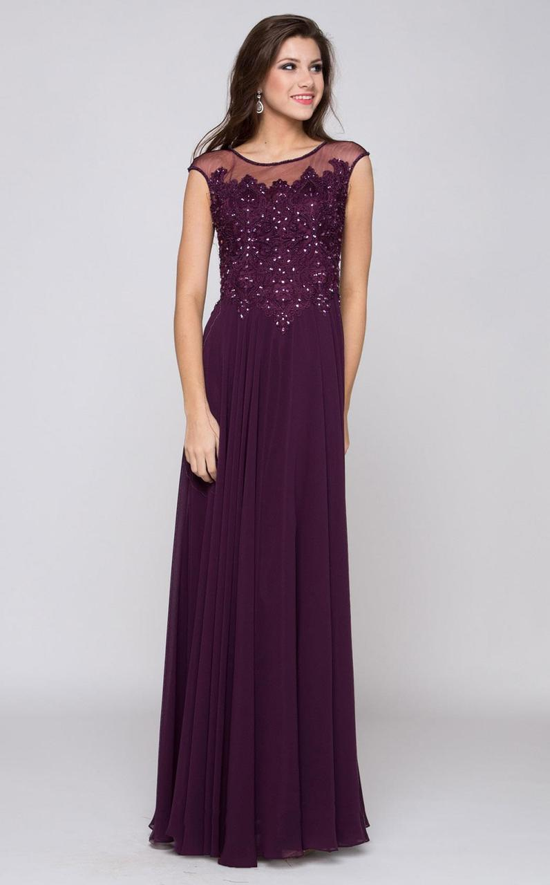 Marsoni by Colors - M107 Embroidered Illusion Silk Gown Special Occasion Dress 2 / Eggplant