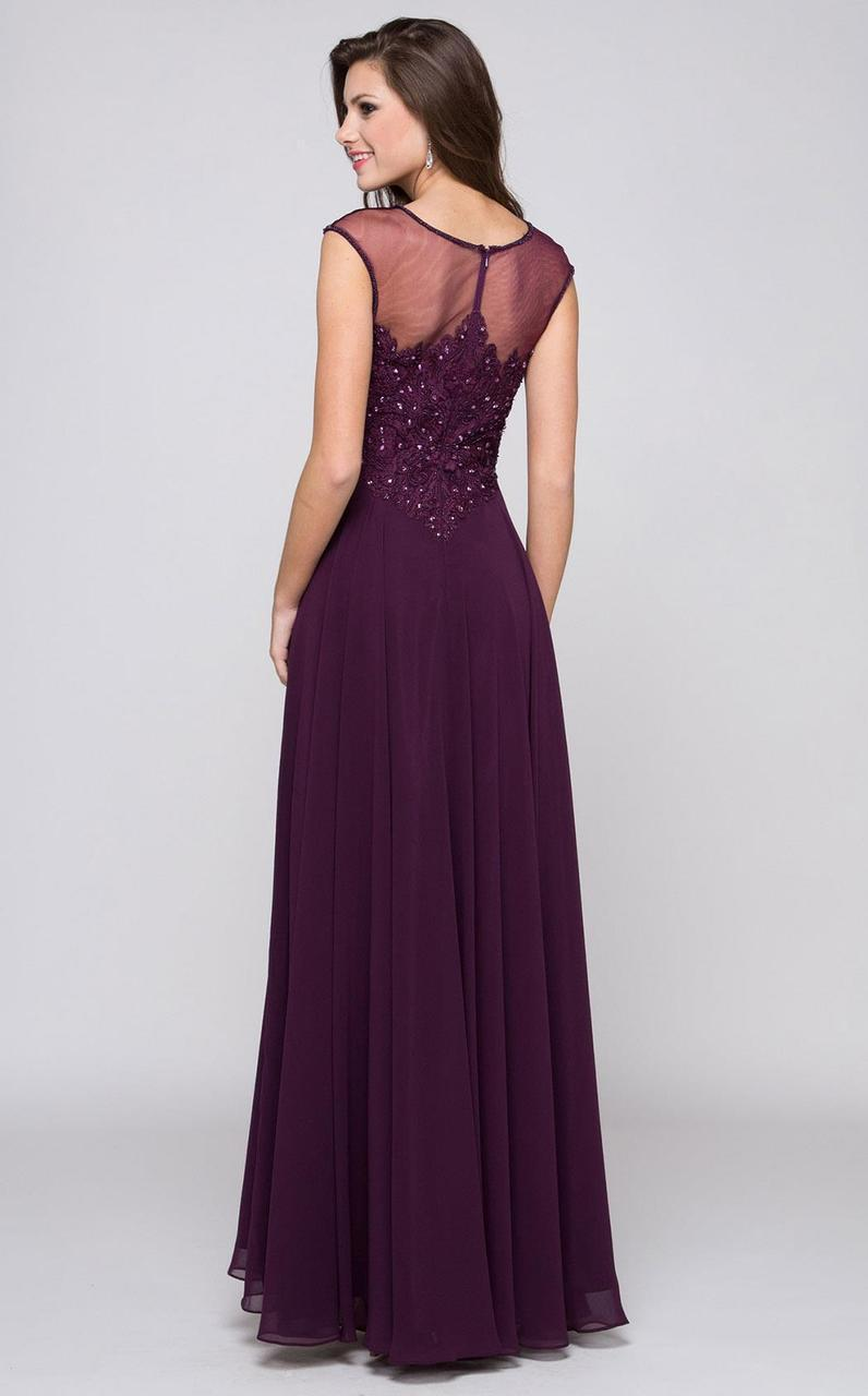 Marsoni by Colors - M107 Embroidered Illusion Silk Gown Special Occasion Dress