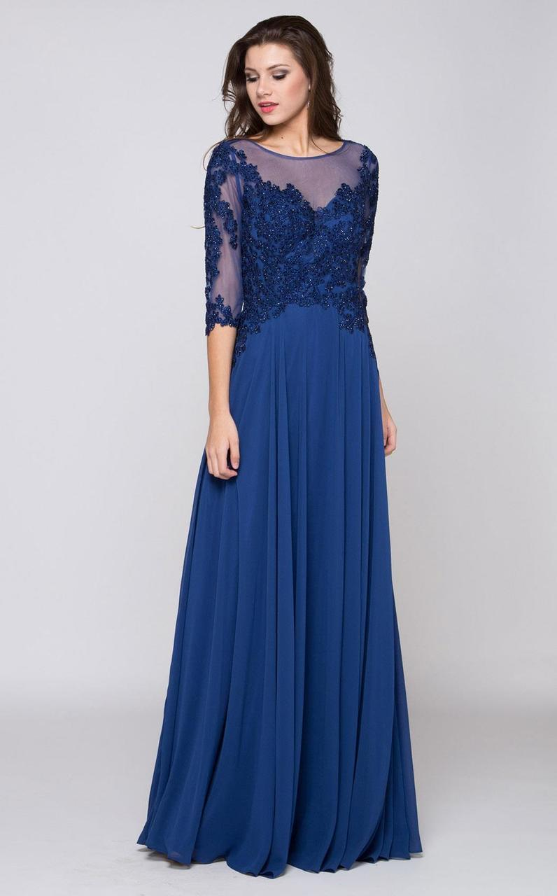 Marsoni by Colors - Embellished Scoop Evening Dress M157 in Blue