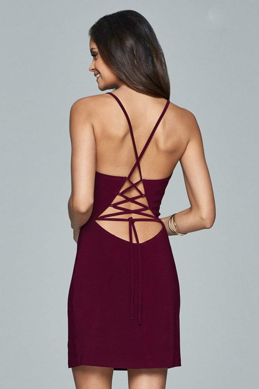 Faviana Lace Up Plunging Neck Cocktail Dress - 1 pc Black In Size 6 Available in Red