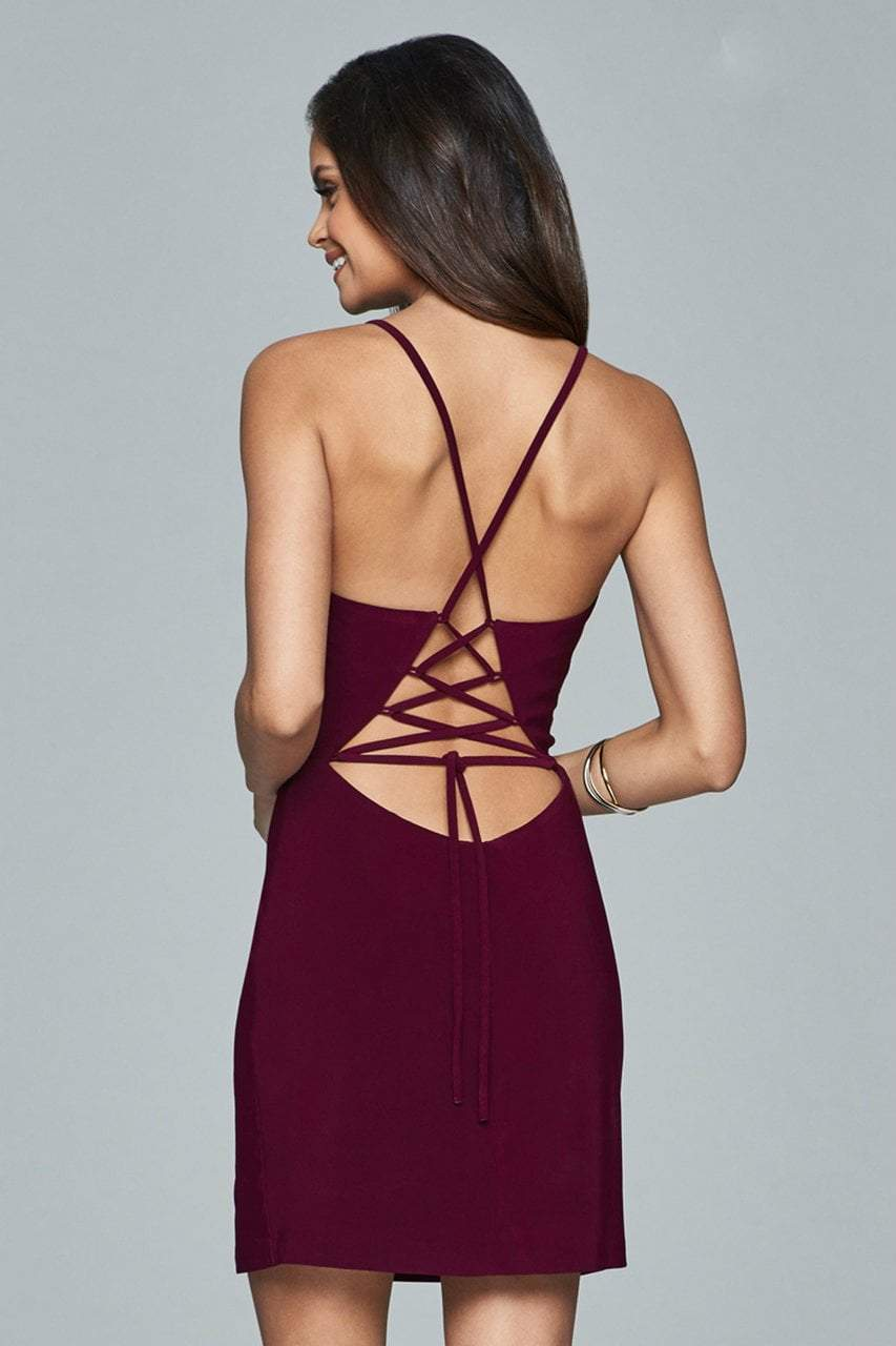 Faviana - Lace Up Back Cocktail Dress 8054 in Red