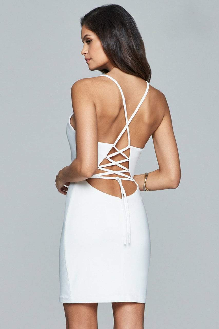 Faviana - Lace Up Back Cocktail Dress 8054 in White