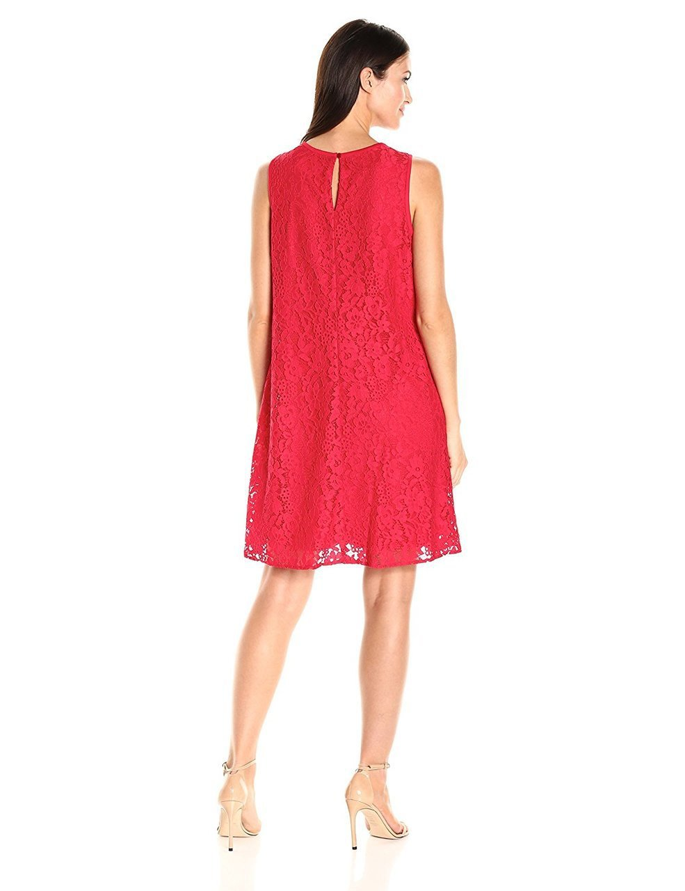 Nine West - 10647202 Sleeveless Floral Lace Cocktail Dress in Red