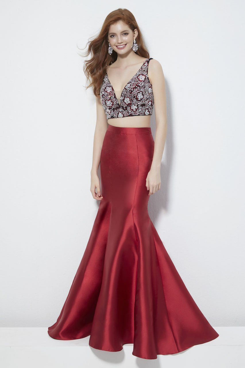 Angela and Alison - 81005 Two-Piece Jewel Ornate Bodice Trumpet Gown In Red