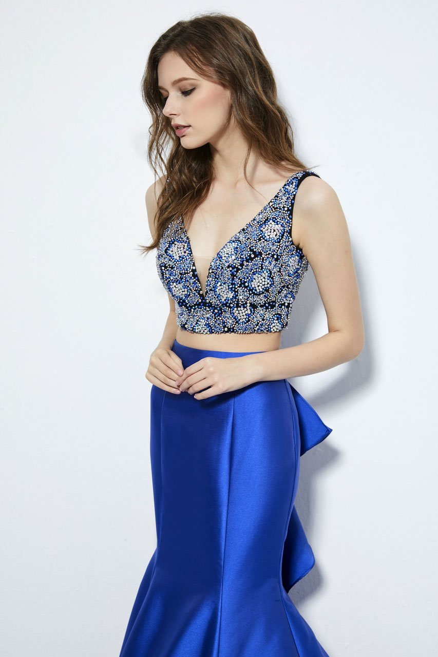Angela and Alison - 81005 Two-Piece Jewel Ornate Bodice Trumpet Gown In Blue