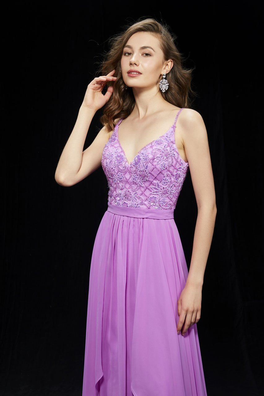 Angela and Alison - 81007 Floral Lattice Beaded Draping Chiffon Gown In Purple