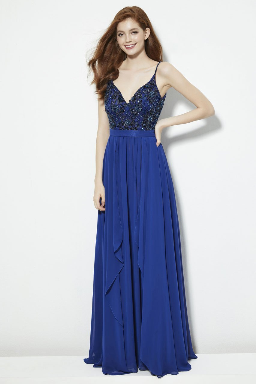 Angela and Alison - 81007 Floral Lattice Beaded Draping Chiffon Gown In Blue