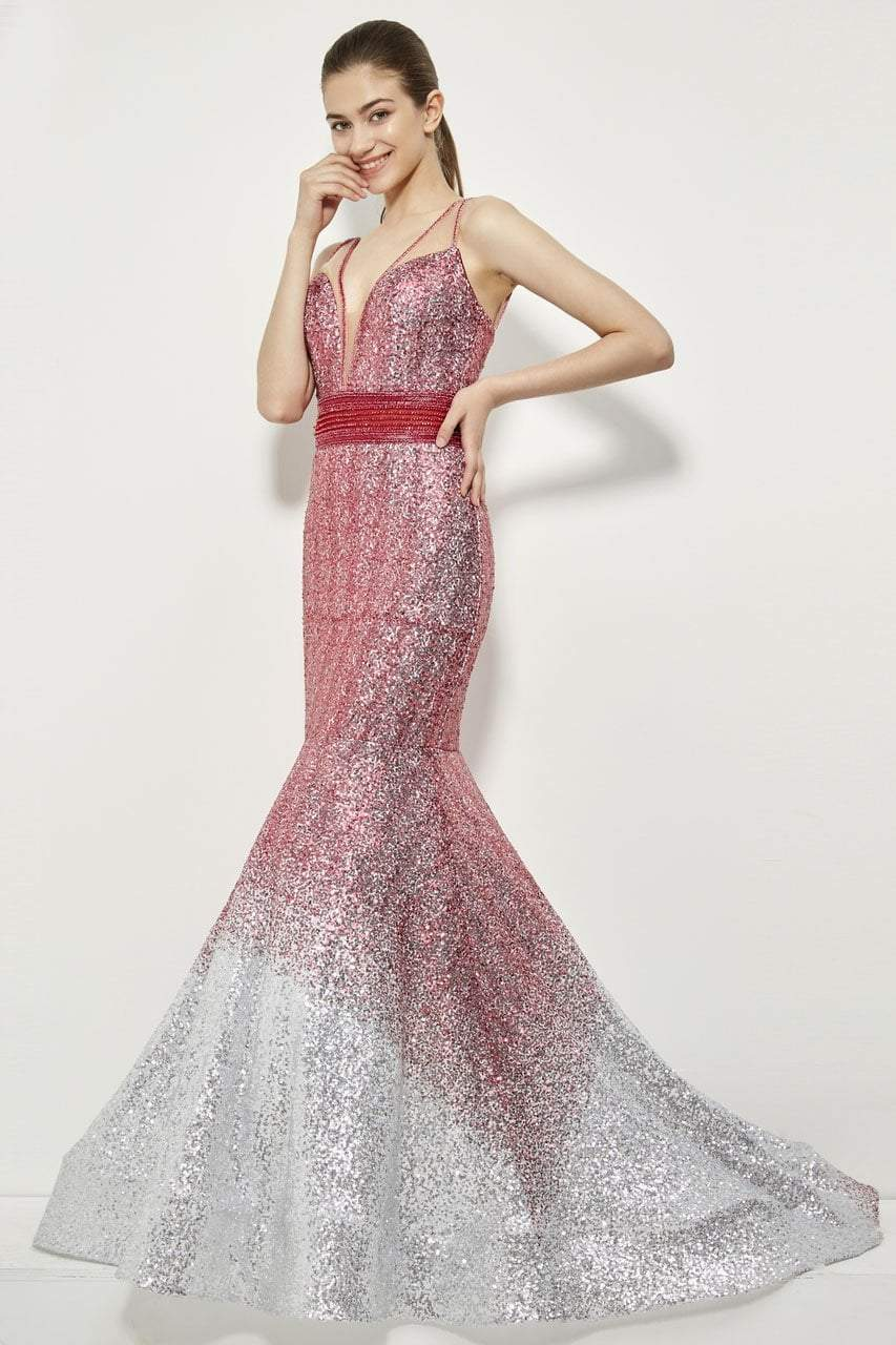Angela and Alison - 81008 Two-Toned Sequin Ornate Trumpet Gown In Pink and Silver