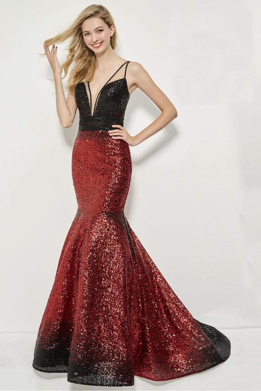 Angela and Alison - 81008 Two-Toned Sequin Ornate Trumpet Gown In Black and Red