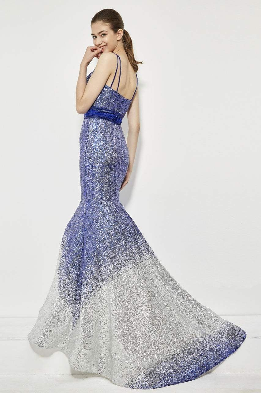 Angela and Alison - 81008 Two-Toned Sequin Ornate Trumpet Gown In Blue and Silver