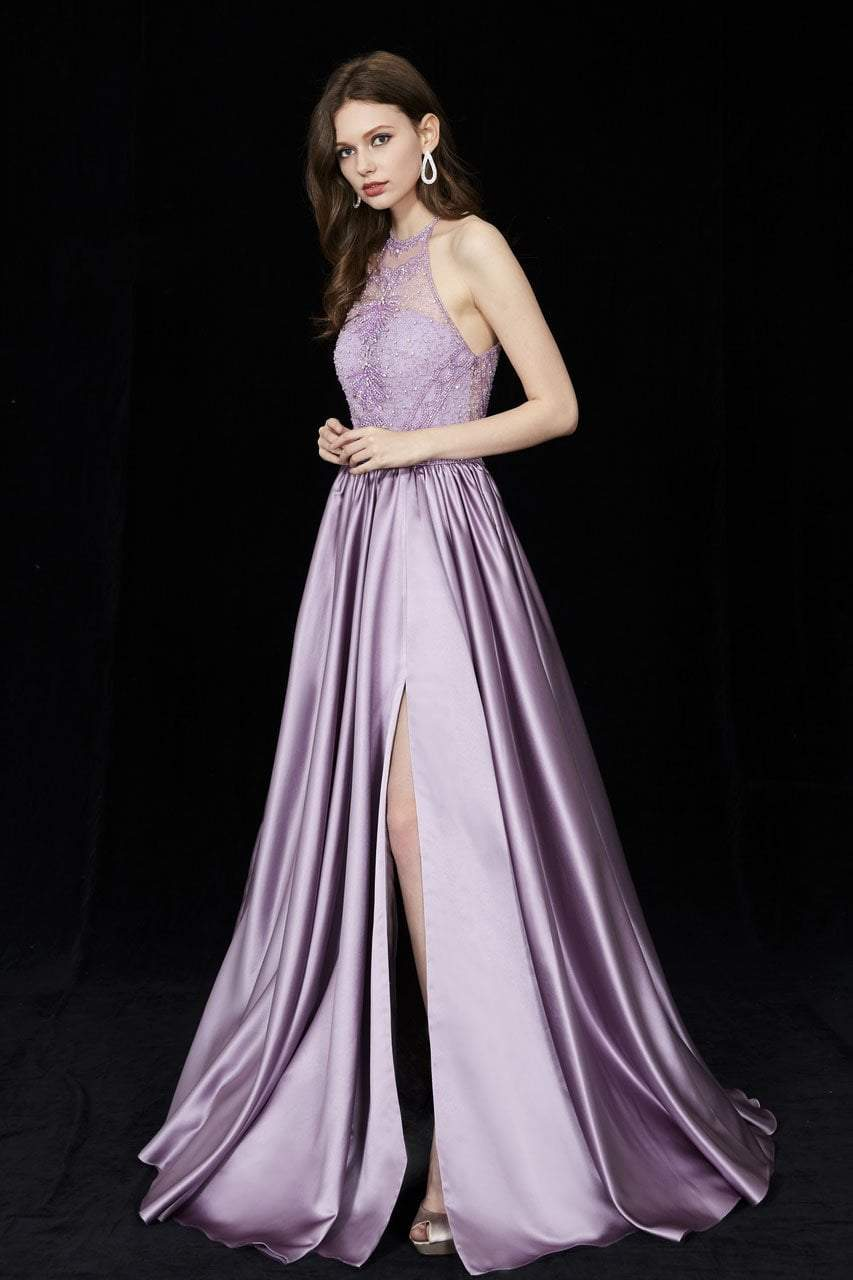 Angela and Alison - 81015 Ornate Illusion High Halter High Slit Gown In Purple