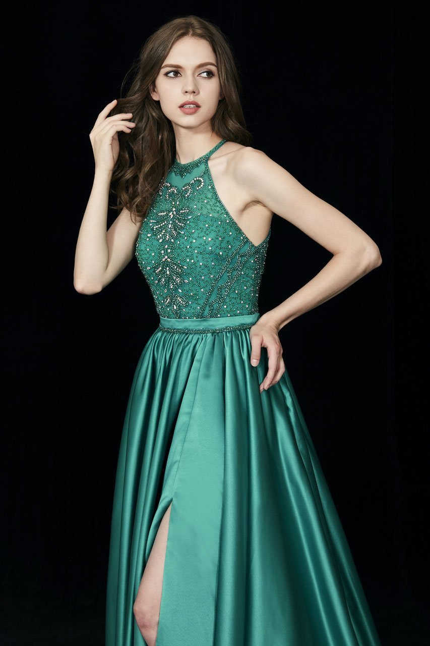 Angela and Alison - 81015 Ornate Illusion High Halter High Slit Gown In Green