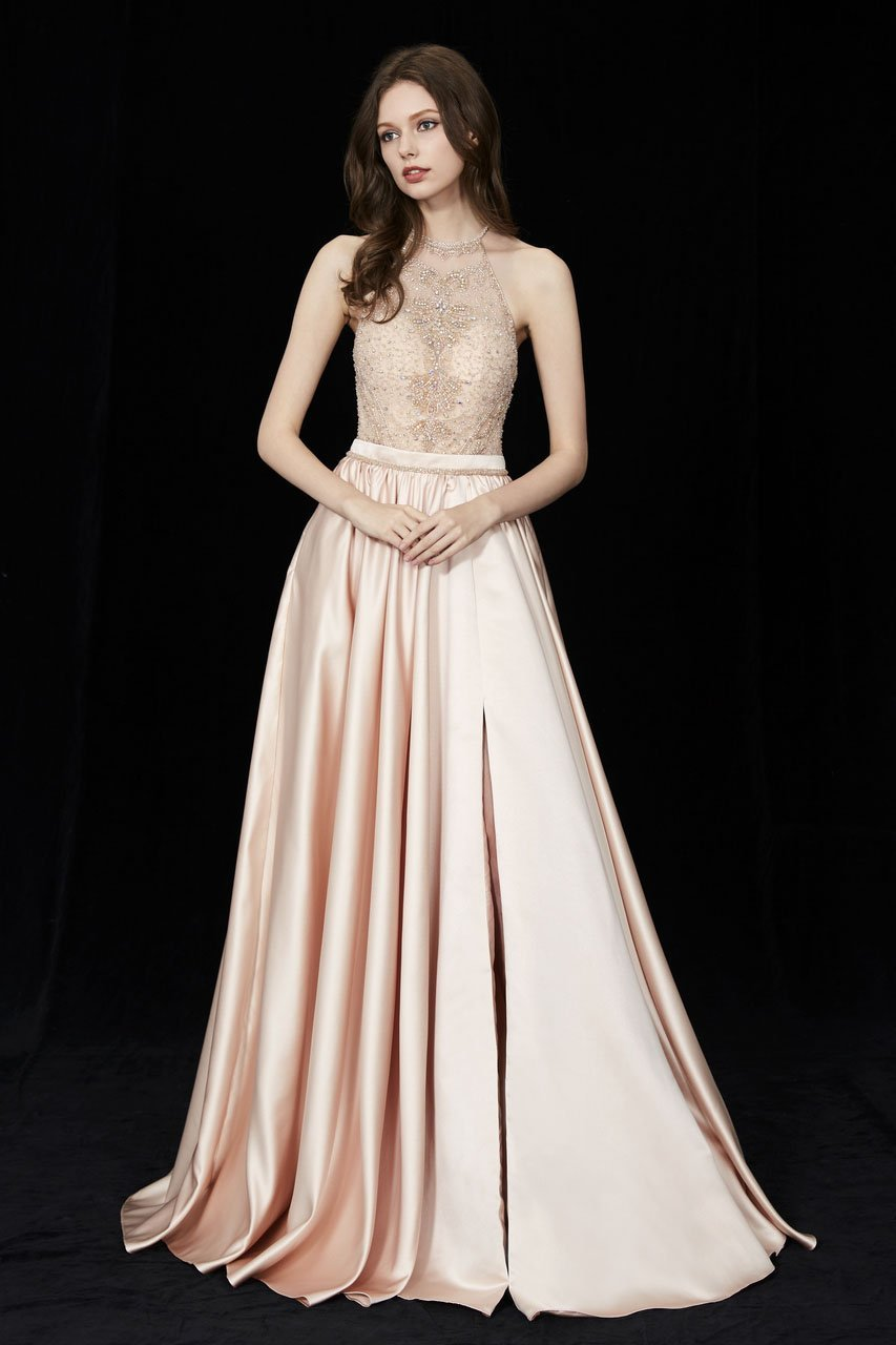 Angela and Alison - 81015 Ornate Illusion High Halter High Slit Gown In Neutral