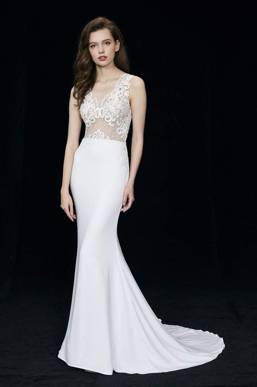 Angela and Alison - 81017 Sleeveless Embroidered Illusion Sheath Gown In White