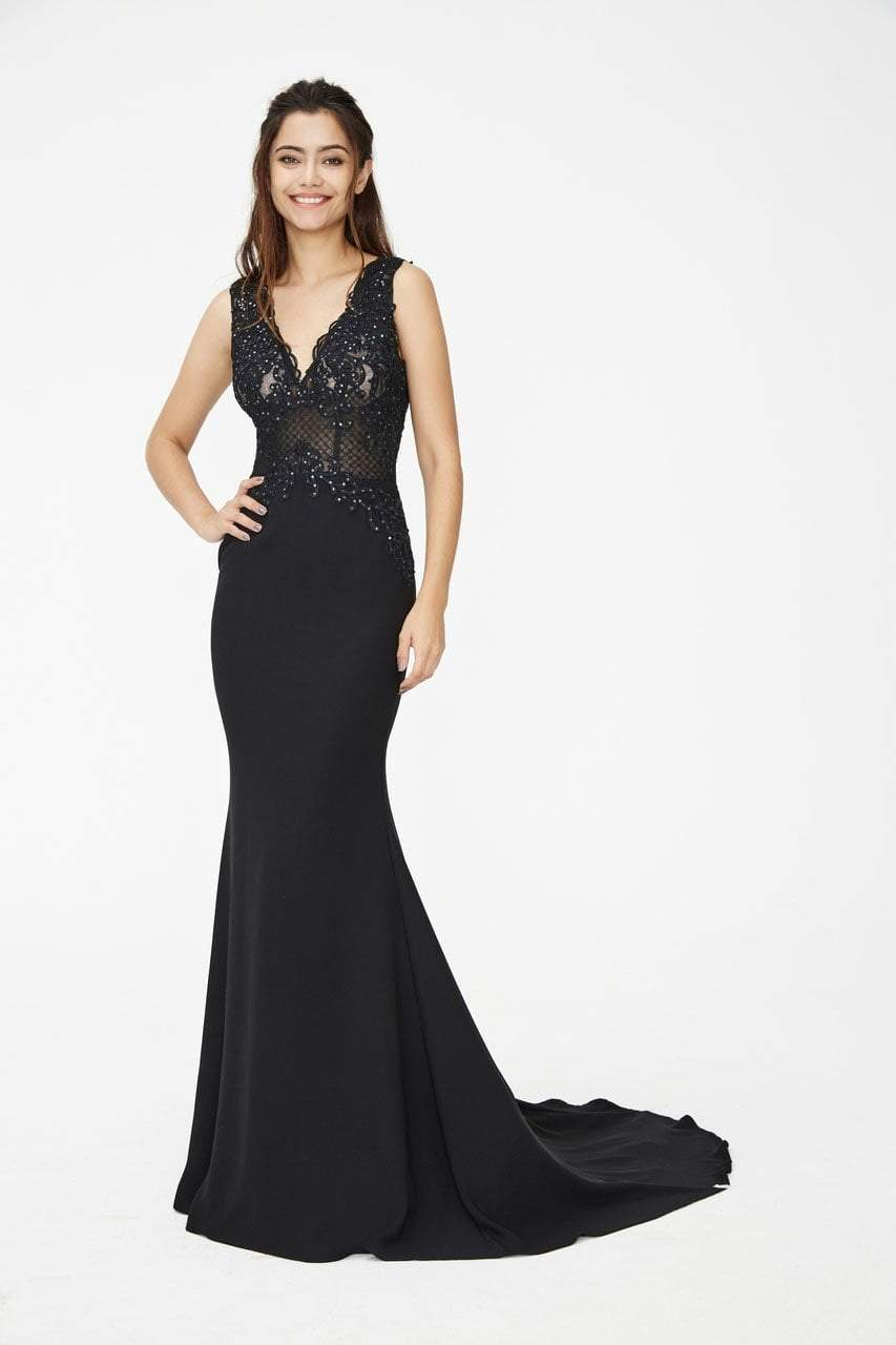Angela and Alison - 81017 Sleeveless Embroidered Illusion Sheath Gown In Black