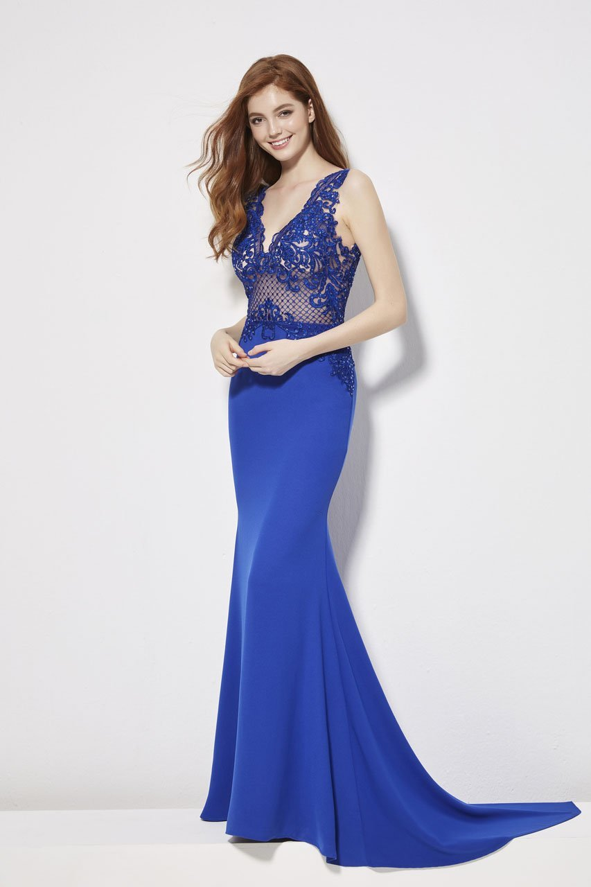 Angela and Alison - 81017 Sleeveless Embroidered Illusion Sheath Gown In Blue
