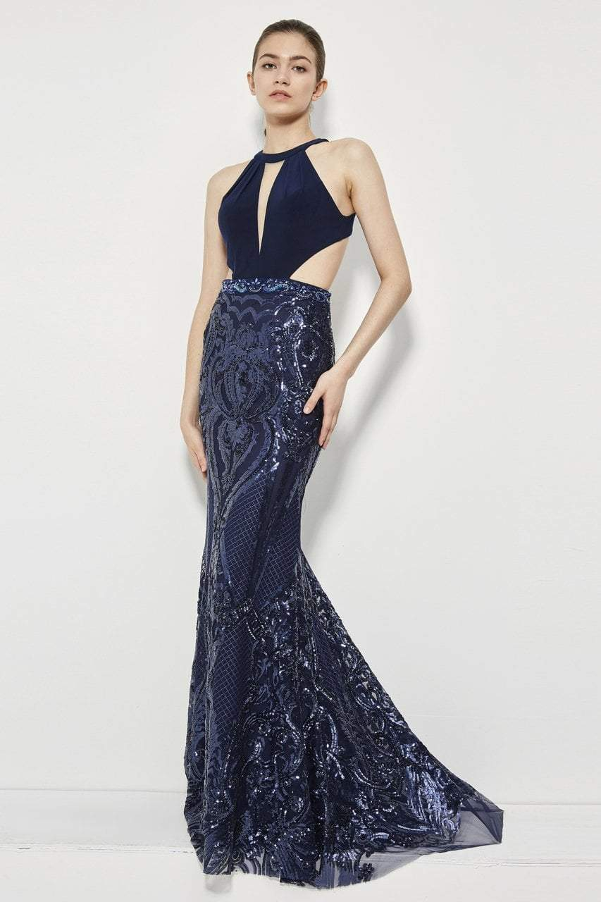 Angela and Alison - 81020 High Halter Multi-Cutout Sequined Gown In Blue