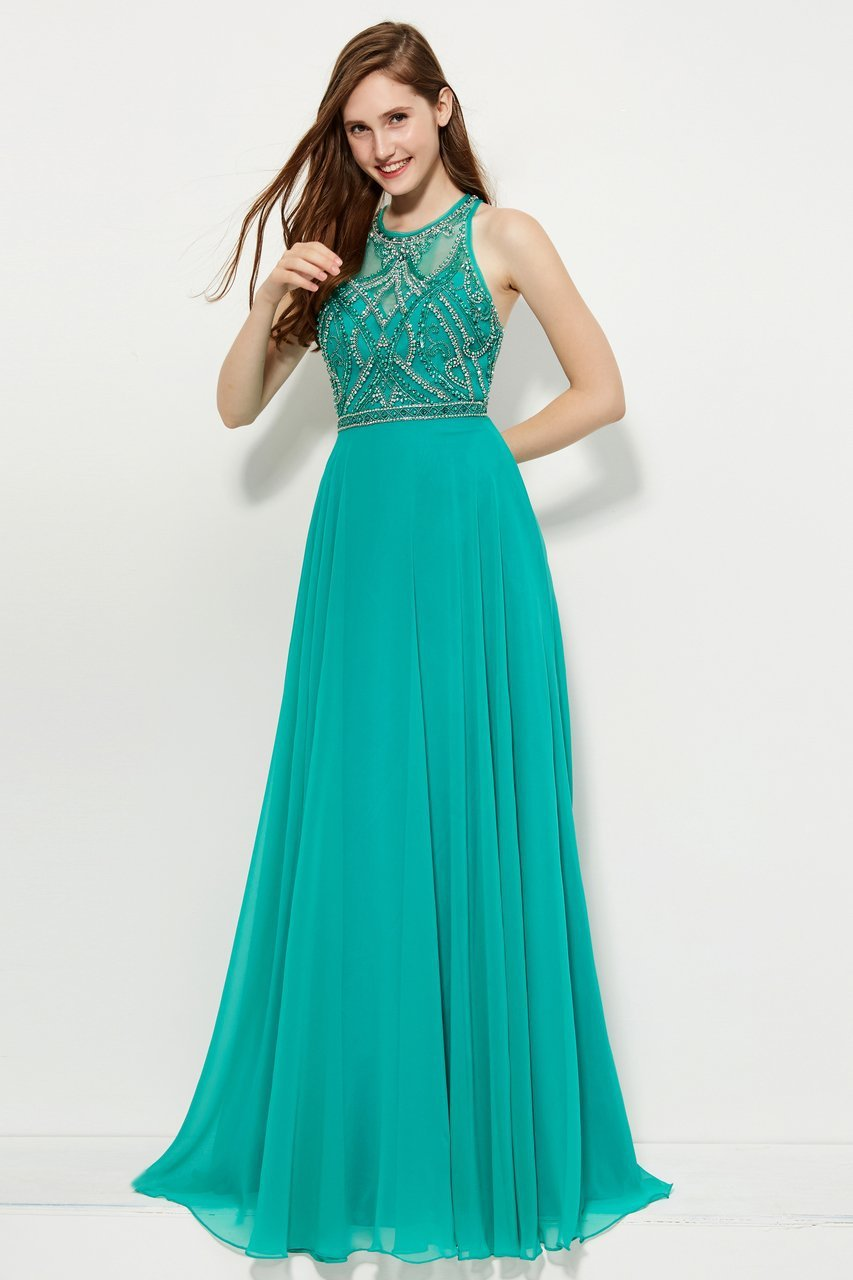 Angela and Alison - 81027 Sleeveless Adorned Illusion Bodice Gown In Green