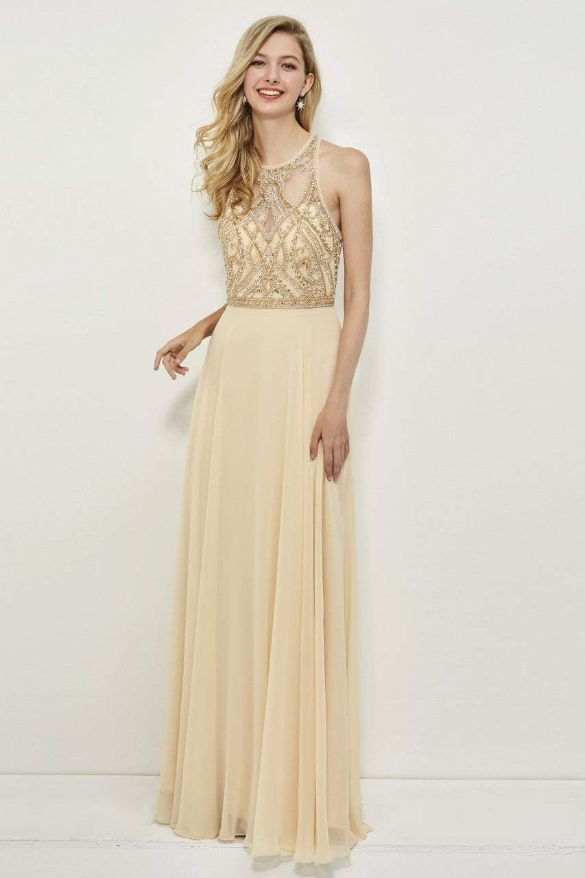 Angela and Alison - 81027 Sleeveless Adorned Illusion Bodice Gown In Neutral