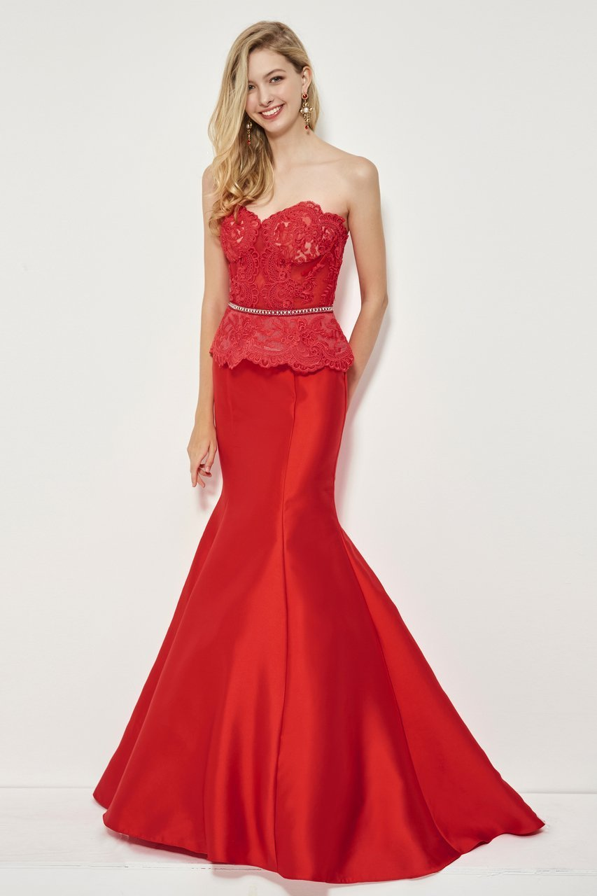 Angela and Alison - 81028 Sheer Strapless Mermaid Gown In Red